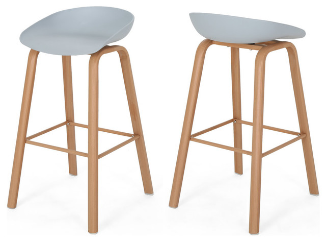 "Morgan 30"" Modern Barstool With Iron Legs, Set of 2 - Midcentury ."