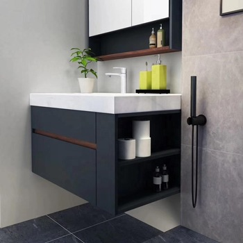 Modern solid wood bathroom vanity cabinet with medicine cabinet .
