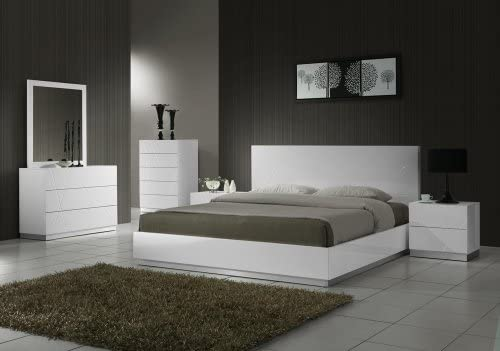 Amazon.com: J&M Furniture Naples Modern White Lacquered Bedroom .