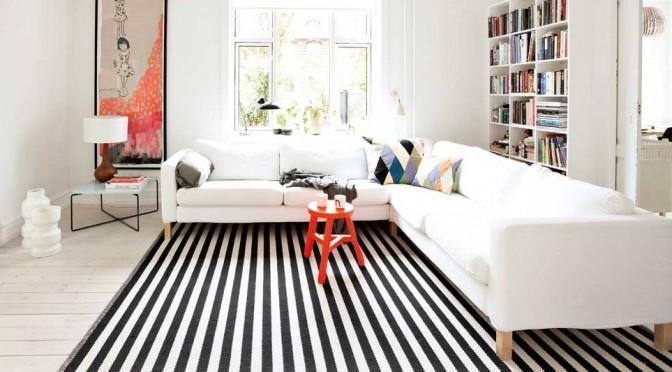 Modern Black And White Striped Rug For   Living Room