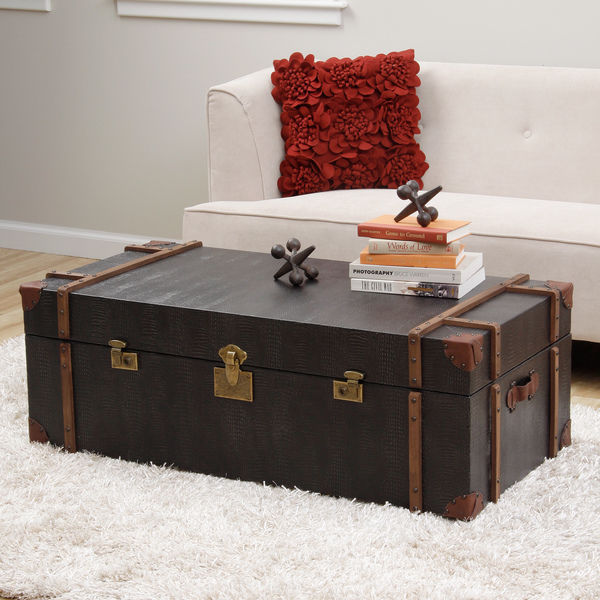 Unique Black Croc Emboss Leather Finish Storage Trunk Style Coffee .