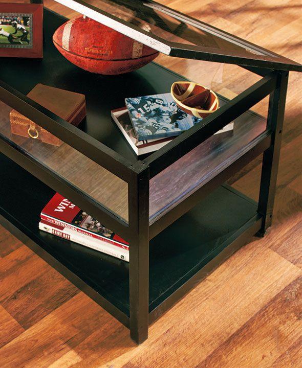 Black Coffee Table Display Glass Top Memorabilia Display Endtable .