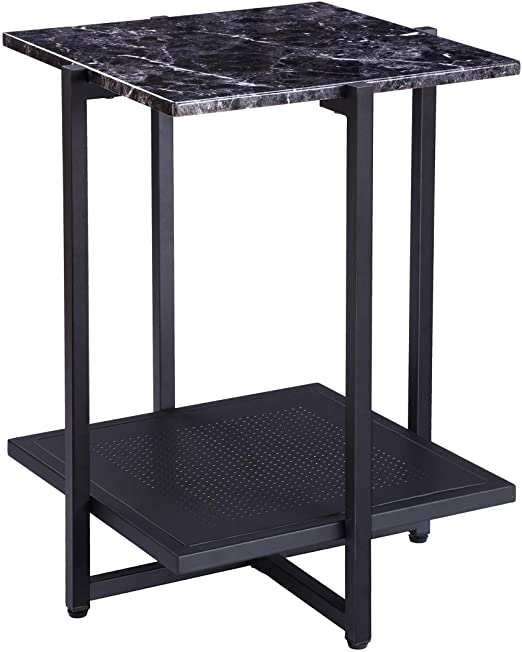 Amazon.com: FIVEGIVEN Modern Black End Table Marble Side Table .