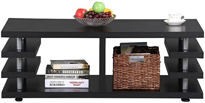 Amazon.com: Yaheetech Modern Black Wood Coffee Table Iron Tube .