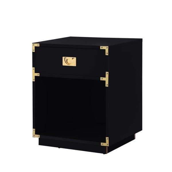 Inspired Home Odrini Modern Black/Gold End Table Metal Corner .