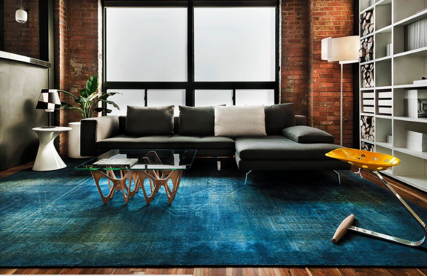 Blue-overdyed-rug-modern-living-room | Artsy Ru