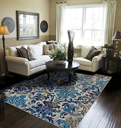 Amazon.com: Modern Distressed Area Rugs for Living Room 5x7 Blue .