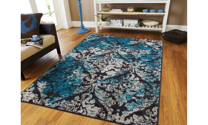 Large Area Rugs Blue Cream Modern Living Room Rug 8x10 Distressed .