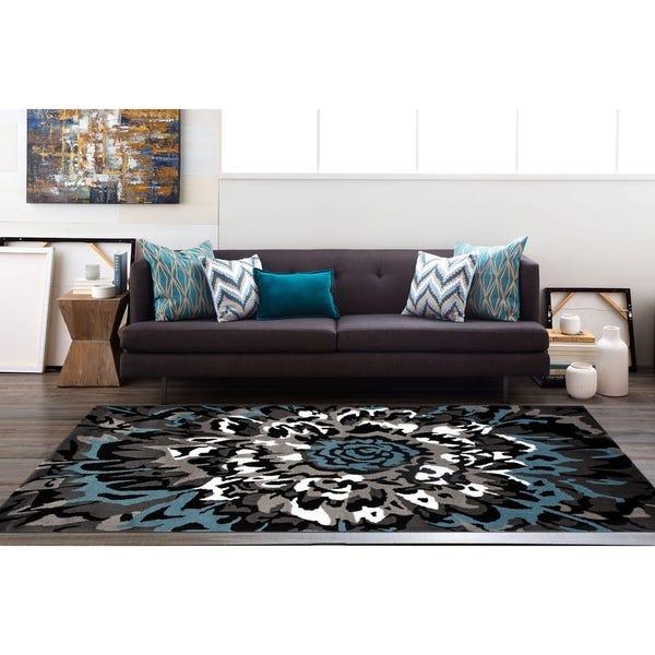 Shop Modern Large Floral Pattern Blue/Grey Polypropylene Area Rug .