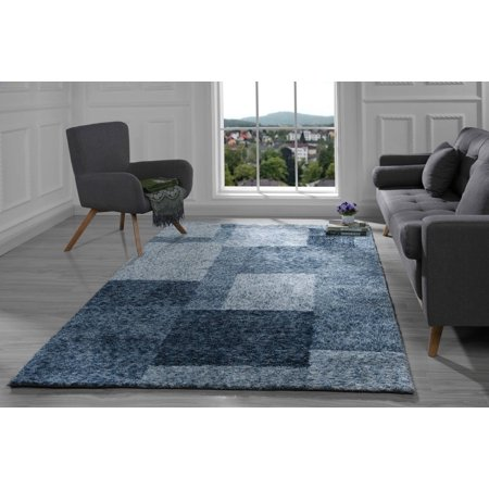 Modern Living Room Area Rug with Geometric Square Pattern (8' x 10 .