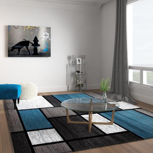 Shop Contemporary Modern Boxes Blue/Grey Area Rug (7'10 x 10'2 .