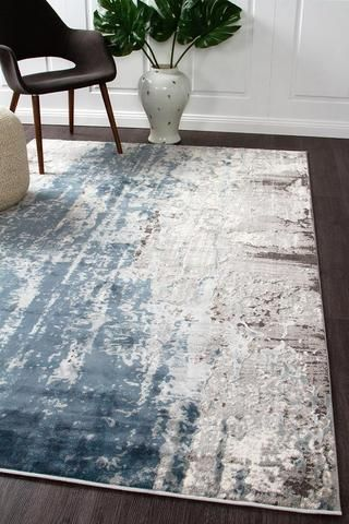 Mist Breeze Distressed Modern Rug Blue Grey White | Grey, white .