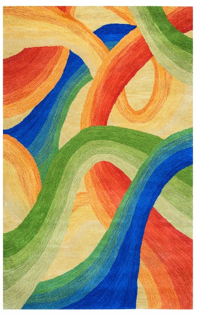 Colours Abstract Swirl Wool Area Rug In Yellow Blue Green Red, 5' x