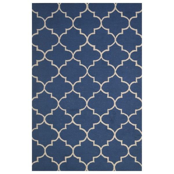 Shop Navy Blue Wool Handmade Big Indoor Modern Area Rug - 5' x 8 .