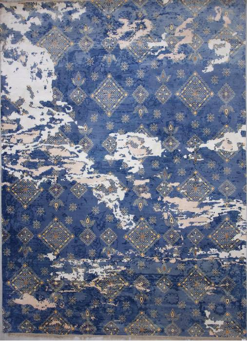 Indian Modern Blue Rectangle 9x12 ft wool and viscose Carpet .