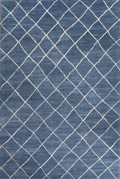 Modern Geometric Blue/Ivory Wool Area Rug - Harley in Blue | NOVI