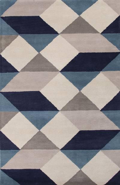 Modern Geometric Blue/Ivory Wool Area Rug - Celestial Ames | NOVI