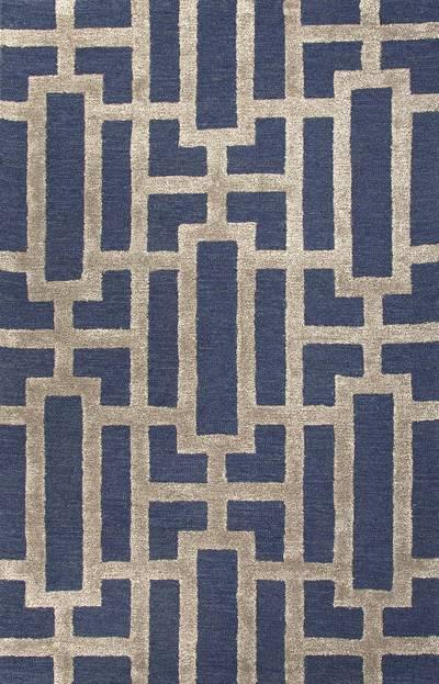Modern Geometric Blue/Taupe Wool Blend Area Rug - Urbanite | NOVI
