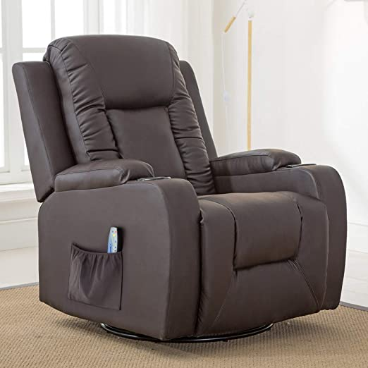 Amazon.com: ComHoma Leather Recliner Chair Modern Rocker with .