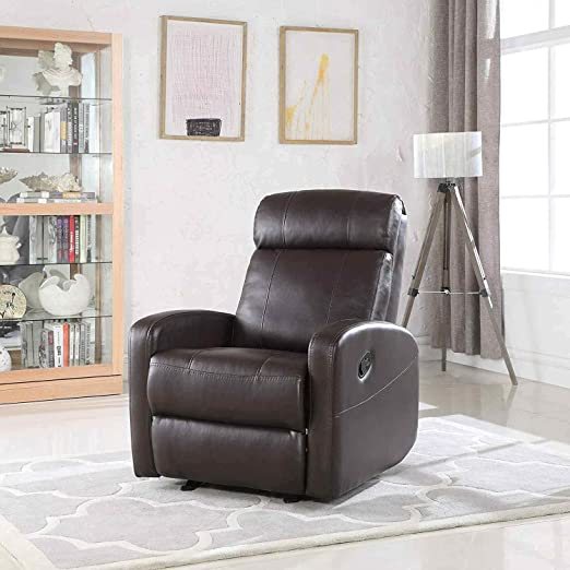 Amazon.com: Brown Faux Leather Rocking Recliner Lounge Chair .
