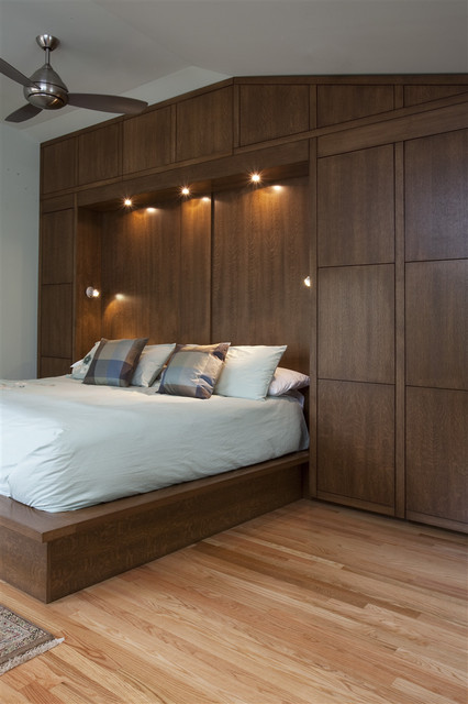 Bedwall with Built-in cabinet surround & hidden door - Modern .