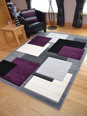 Modern Thick Soft Quality Lt Silver Grey Purple Floor Mat Rugs .