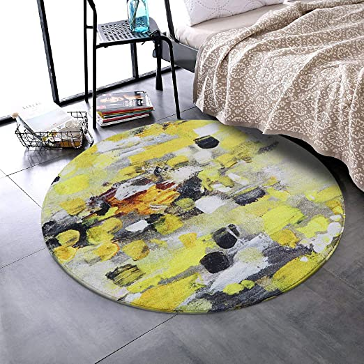 Amazon.com: LEEVAN Faux Wool Area Rug 4ft Round Traditional Throw .