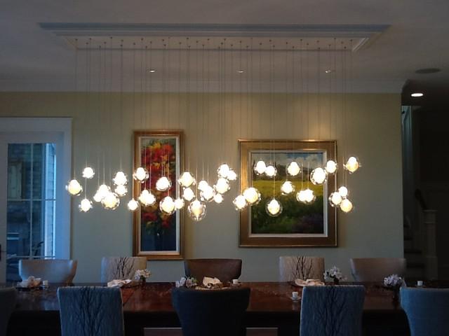Kadur Chandelier Over Dining Room Table | Custom Blown Glass .