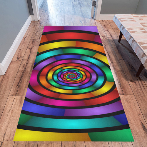 Round Psychedelic Colorful Modern Fractal Graphic Area Rug 10'x3'