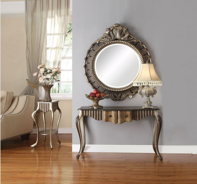 Acme 90126 Bayley bronze and taupe finish wood console entry table .