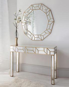 Geometria Gold Mirrored Console Table Round Mirror Set - Buy Black .