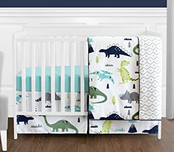 Amazon.com : Navy Blue and Green Modern Dinosaur Baby Boys or .