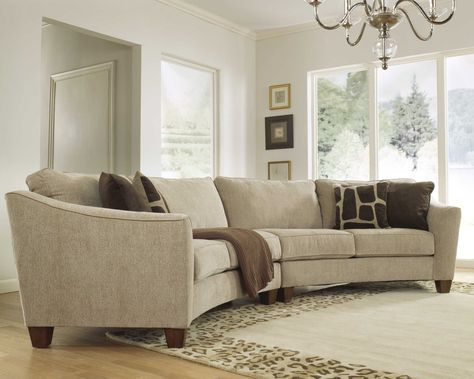 Curved Sectional Sofa Set - Rich Comfortable Upholstered Fabric .