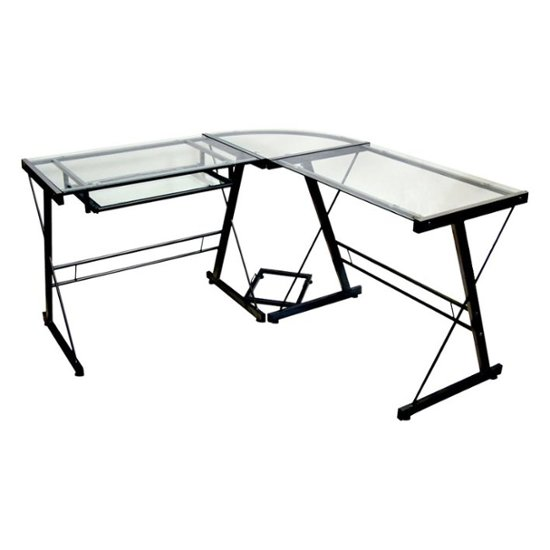 Walker Edison Modern L-Shaped Tempered Glass Computer Desk Clear .