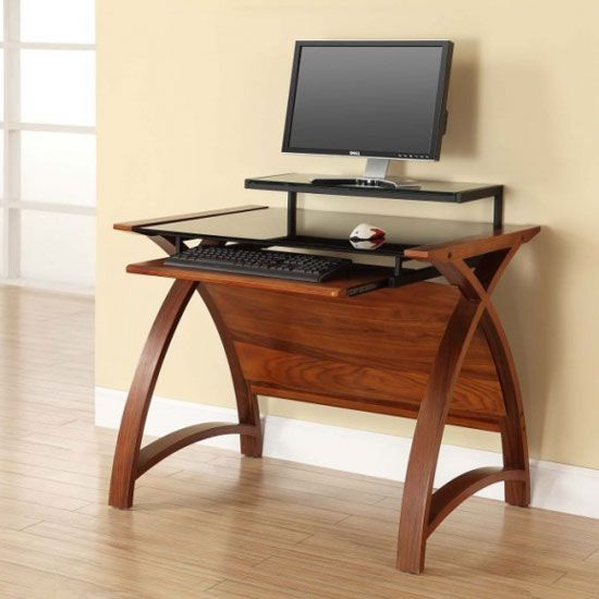 Cohen Curve Computer Desk Small In Black Glass Top And Walnut .