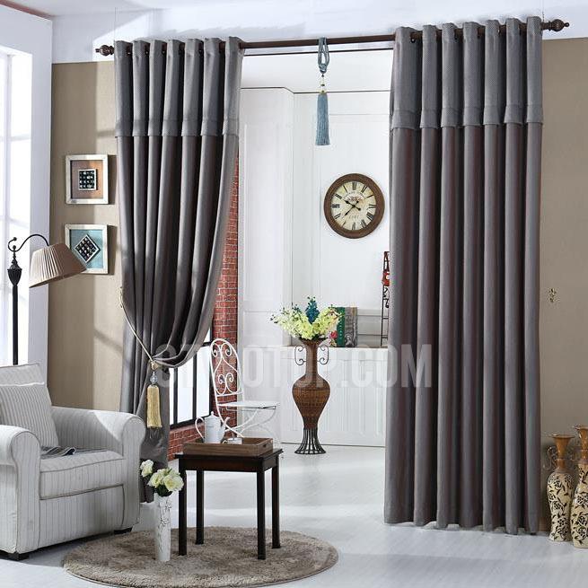 Dark Gray Linen/Cotton Blend Simple Modern Curtai