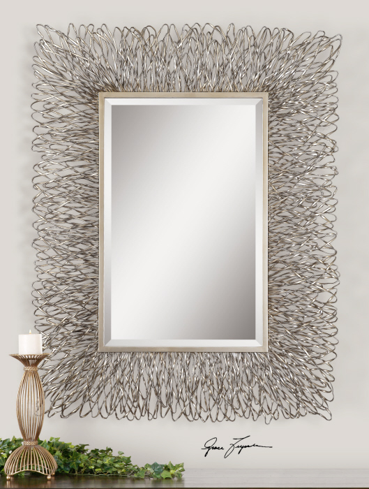 """Contemporary Silver Wire Metal Wall Mirror Large 56"""" Modern Decor ."""