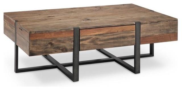 Prescott Modern Reclaimed Wood Rectangular Coffee Table, Rustic .