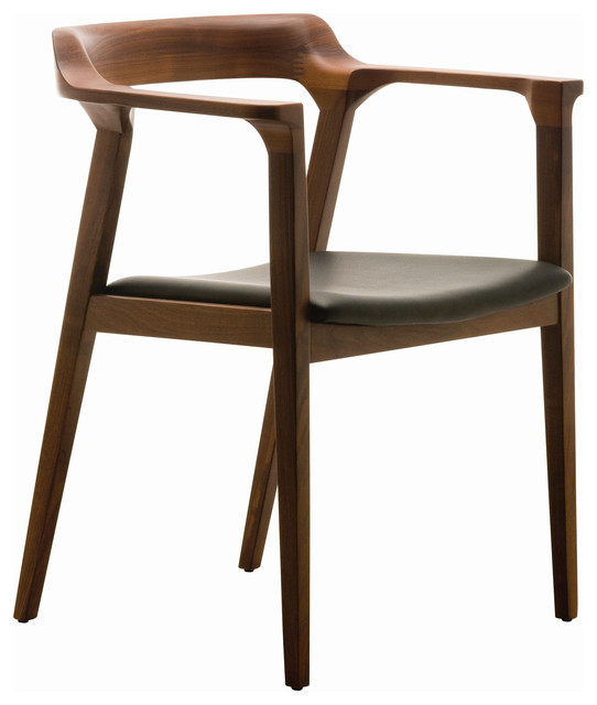 Katelyn Mid Century Modern Brown Walnut Leather Dining Arm Chair .