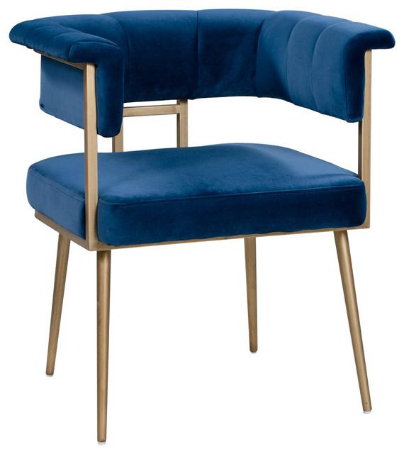 Blue Velvet Dining Chair, Contemporary Modern Brass Gold Side Arm .