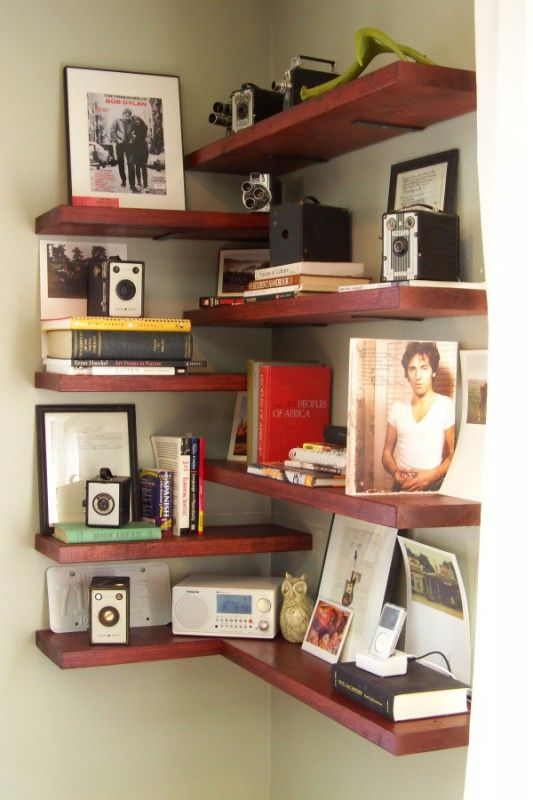A fun modern looking shelf. DIY corner shelving, #books .