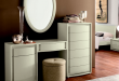 modern white dressing table with mirror ans storage drawers .
