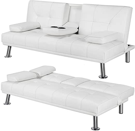 Amazon.com: Yaheetech Futon Sofa Bed Sleeper Sofa Modern Faux .