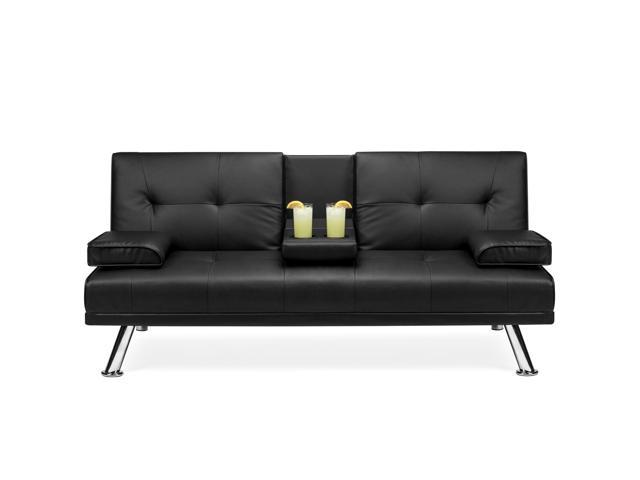 Best Choice Products Modern Faux Leather Convertible Futon Sofa .