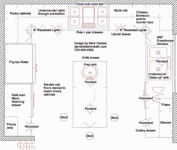 Galley Kitchen Design floorplan with island   ... Galley Design .