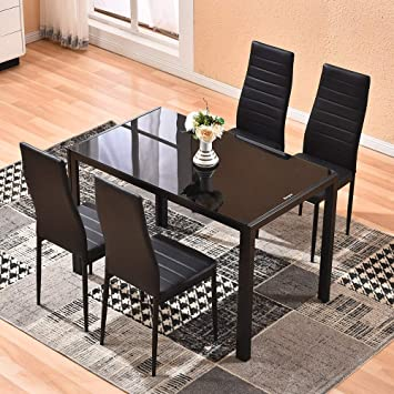 Amazon.com - 4HOMART Dining Table with Chairs, 5 PCS Glass Dining .