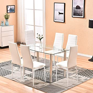 Amazon.com - 4HOMART Dining Table with Chairs, 7 PCS Glass Table .