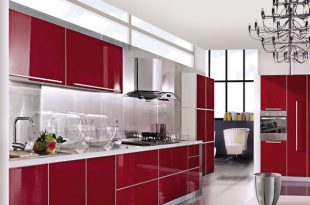 Red Lacquer High Gloss Modern Kitchen Cabinet Designs|modern .