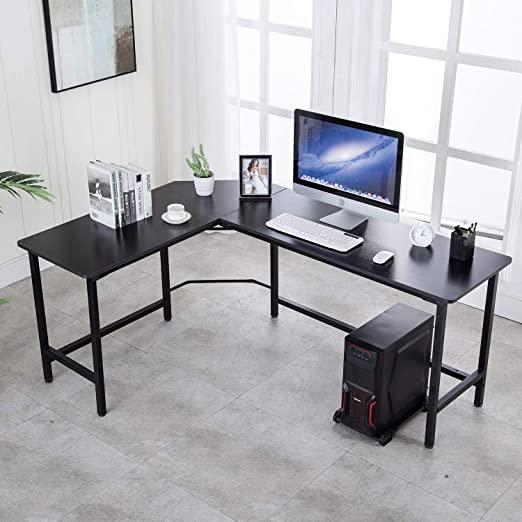 """Amazon.com: AuAg 66"""" L Shaped Desk Modern Computer Table PC Laptop ."""
