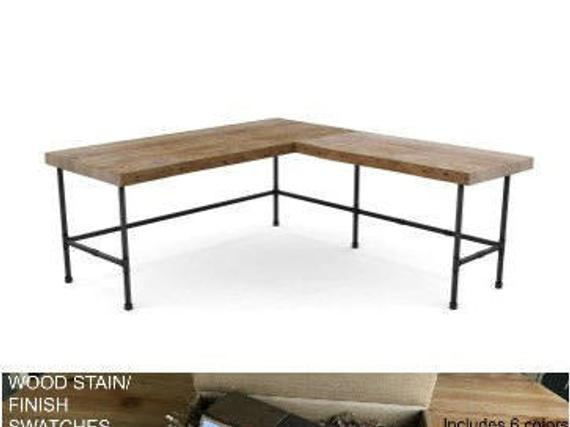 Rustic modern L shaped desk with barn wood top and iron pipe | Et